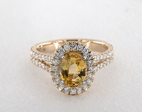 YELLOW SAPPHIRE OVAL CUT HALO ENGAGEMENT RING