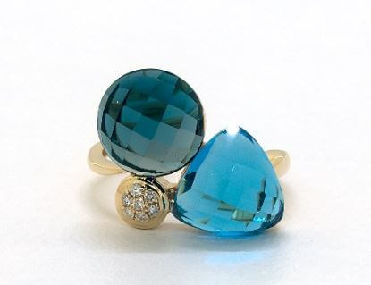 blue topaz with the diamond ring